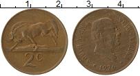 Изображение Монеты ЮАР 2 цента 1976 Бронза XF Якобус Йоханнес Фуше