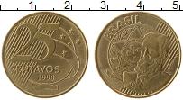 Изображение Монеты Бразилия 25 сентаво 1998 Латунь UNC- Мануэль Деодору
