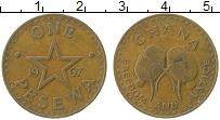Изображение Монеты Гана 1 песева 1967 Медь XF