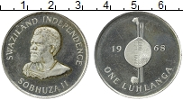 Изображение Монеты Свазиленд 1 лухланга 1968 Серебро Proof-