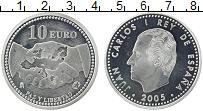 Изображение Монеты Испания 10 евро 2005 Серебро Proof Хуан Карлос I