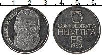 Изображение Монеты Швейцария 5 франков 1980 Медно-никель UNC-