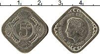 Изображение Монеты Нидерланды 5 центов 1980 Медно-никель UNC- UNUSUAL. Юлиана