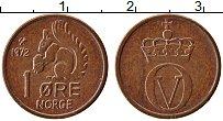 Изображение Монеты Норвегия 1 эре 1972 Бронза UNC- Улаф V. Белка