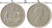 Изображение Монеты Австралия 6 пенсов 1957 Серебро XF Елизавета II