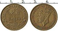 Изображение Монеты Западная Африка 1 шиллинг 1939 Латунь XF Георг VI