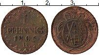Изображение Монеты Саксония 1 пфенниг 1805 Медь XF