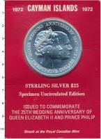 Изображение Подарочные монеты Каймановы острова 25 долларов 1972 Серебро UNC