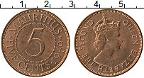 Изображение Монеты Маврикий 5 центов 1969 Бронза UNC- Елизавета II.