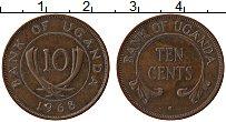 Изображение Монеты Уганда 10 центов 1968 Бронза XF