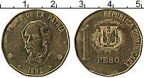 Продать Монеты Доминиканская республика 1 песо 1991 Латунь