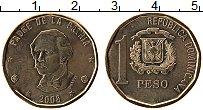 Продать Монеты Доминиканская республика 1 песо 2002 Латунь