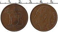 Изображение Монеты Норвегия 5 эре 1958 Медь XF Улаф V. Лось