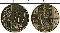 Изображение Монеты Франция 10 евроцентов 2007 Латунь UNC-