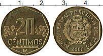 Изображение Монеты Перу 20 сентим 2008 Латунь UNC-