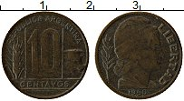 Изображение Монеты Аргентина 10 сентаво 1950 Латунь XF-