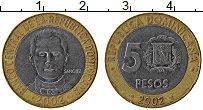 Продать Монеты Доминиканская республика 5 песо 2002 Биметалл