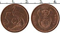 Изображение Монеты ЮАР 5 центов 2007 Бронза UNC-
