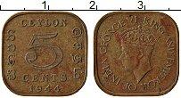 Изображение Монеты Цейлон 5 центов 1944 Латунь XF Георг VI