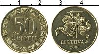 Изображение Монеты Литва 50 центов 2000 Латунь UNC-