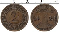 Изображение Монеты Веймарская республика 2 пфеннига 1924 Медь VF G