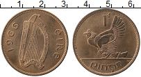 Изображение Монеты Ирландия 1 пенни 1966 Медь XF Глухарь