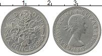 Изображение Монеты Великобритания 6 пенсов 1964 Медно-никель XF