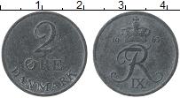 Изображение Монеты Дания 2 эре 1963 Цинк VF Фредерик IX