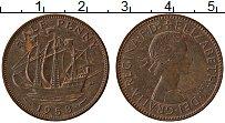 Изображение Монеты Великобритания 1/2 пенни 1958 Медь XF Елизавета II. Корабл