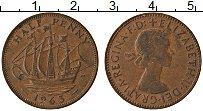 Изображение Монеты Великобритания 1/2 пенни 1963 Медь XF Елизавета II. Корабл