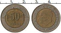 Изображение Монеты Турция 50 куруш 2009 Биметалл VF Кемаль Ататюрк