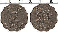 Изображение Монеты Гонконг 2 доллара 1993 Медно-никель VF Цветок