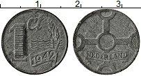 Изображение Монеты Нидерланды 1 сентим 1942 Цинк XF Немецкая оккупация