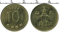 Изображение Монеты Южная Корея 10 вон 2005 Латунь UNC- Пагода