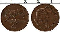 Изображение Монеты ЮАР 2 цента 1966 Медь XF Антилопа. Йохан ван