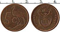 Изображение Монеты ЮАР 5 центов 2010 Медь XF Цапля