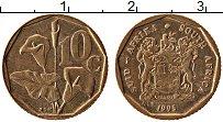 Изображение Монеты ЮАР 10 центов 1995 Латунь XF Цветок