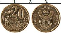 Изображение Монеты ЮАР 20 центов 2016 Латунь XF Цветы