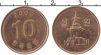 Изображение Монеты Южная Корея 10 вон 2009 Медь UNC- Пагода