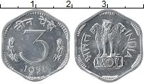 Изображение Монеты Индия 3 пайса 1971 Алюминий XF