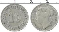 Изображение Монеты Стрейтс-Сеттльмент 10 центов 1900 Серебро XF Виктория