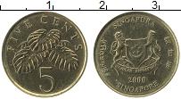 Изображение Монеты Сингапур 5 центов 2000 Латунь UNC- Флора