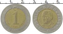 Изображение Монеты Турция 1 лира 2005 Биметалл VF
