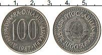 Изображение Монеты Югославия 100 динар 1987 Медно-никель UNC-