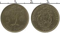 Изображение Монеты Сейшелы 5 центов 1982 Латунь XF