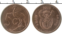 Изображение Монеты ЮАР 5 центов 2006 Бронза XF