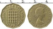 Изображение Монеты Великобритания 3 пенса 1956 Латунь XF Елизавета II.