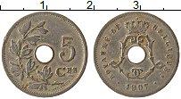 Изображение Монеты Бельгия 5 сантим 1907 Медно-никель XF