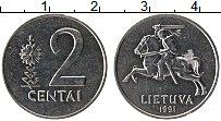 Изображение Монеты Литва 2 цента 1991 Алюминий UNC-