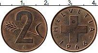 Изображение Монеты Швейцария 2 раппа 1966 Бронза UNC-